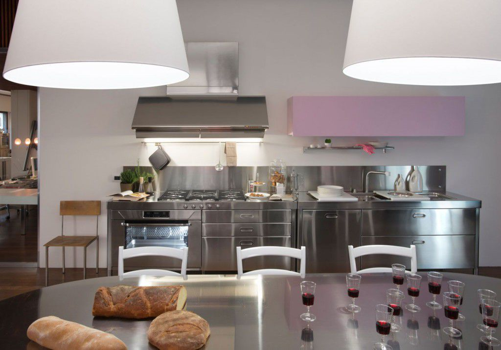 Moderne Küche / Edelstahl / mit integriertem Griff - COMBINED 190 (3 ...