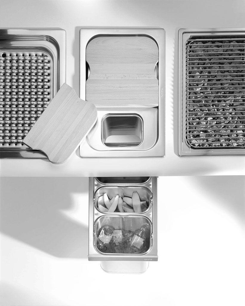 Küchen-Abfalleimer / Einbau / Edelstahl / System - OUTLET - ALPES-INOX