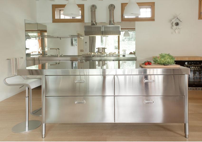 Moderne Küche / Edelstahl / Kochinsel / mit integriertem Griff - 190 ...