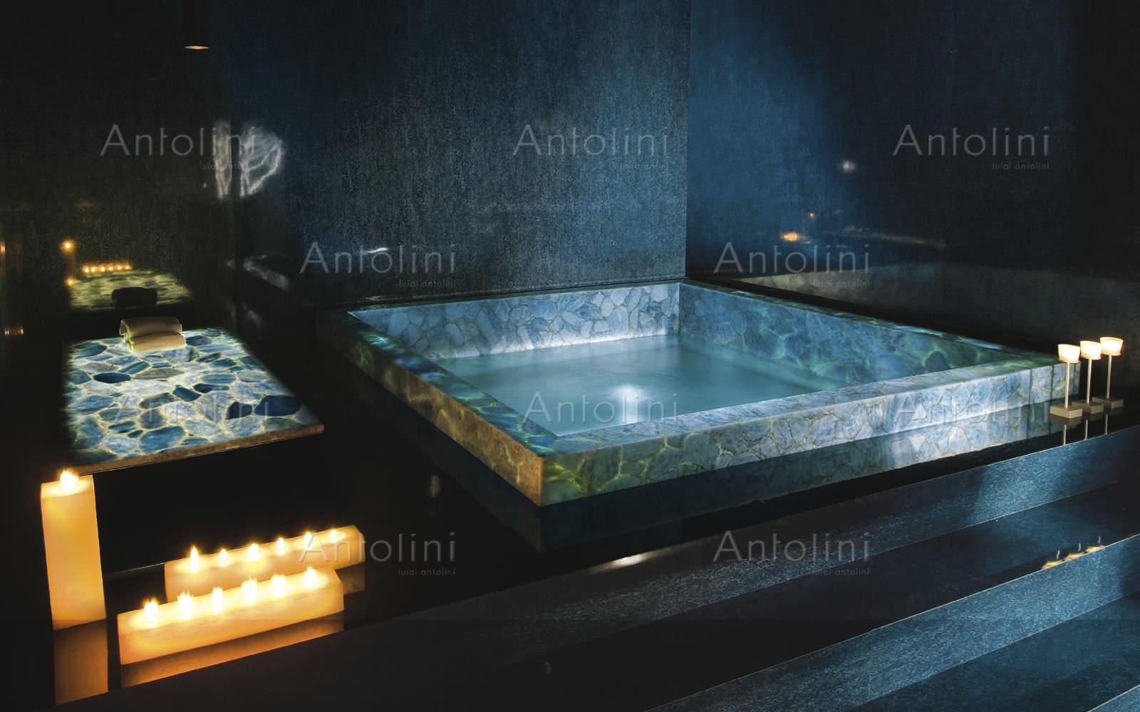 Innen Fliesen / Badezimmer / Für Böden / Quarzit   PRECIOUSTONE COLLECTION  : ICE BLUE CALCITE