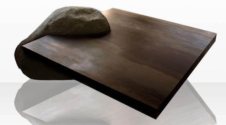 Moderner Couchtisch Stein Quadratisch Innenraum Elegant