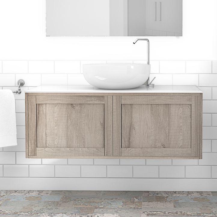 Hängend-Waschtischunterschrank / Holz / modern / mit Ablage - 1161 ... | {Waschtischunterschrank holz hängend 120 4}