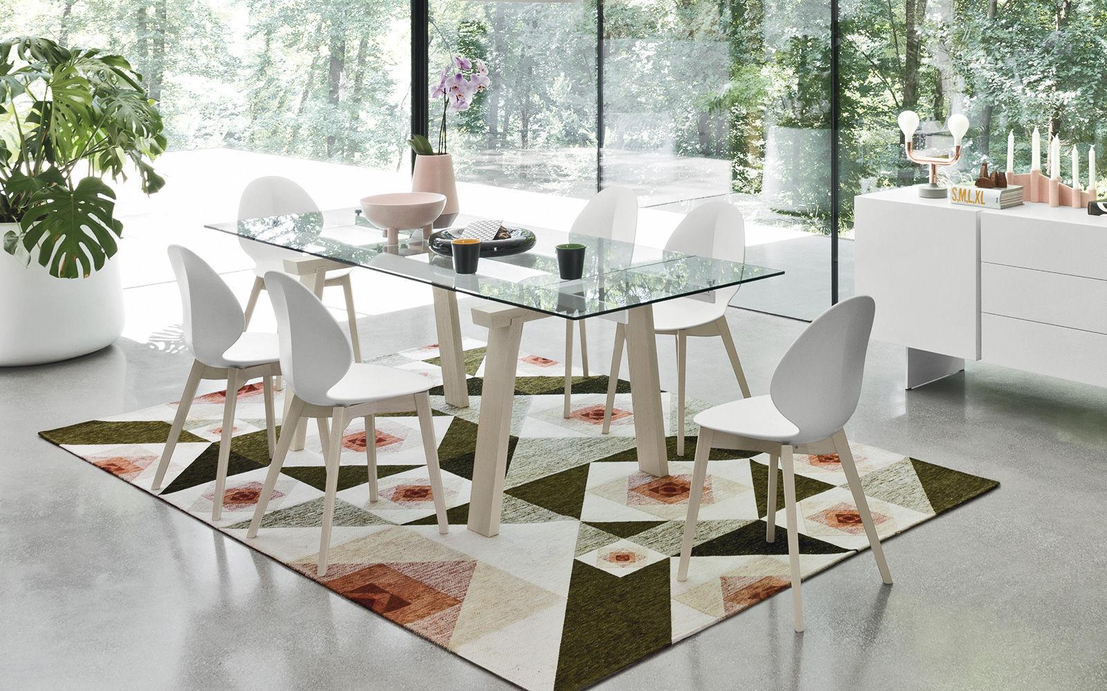 Moderner Esstisch / Holz / Metall / Hartglas - LEVANTE - calligaris