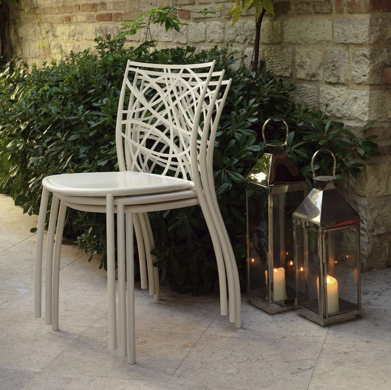 Moderner Stuhl Stapel Metall Aussenbereich Julie Cantori