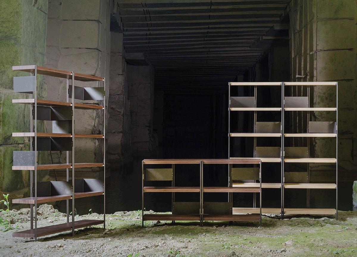 Modernes Regal / aus Eiche / amerikanischer Nussbaum / Edelstahl ...