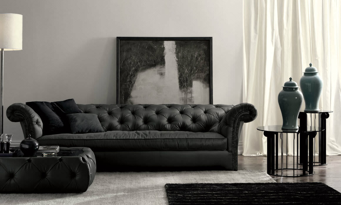 Chesterfield sofa modern  Chesterfield-Sofa / Leder / 3 Plätze / schwarz - CHURCHILL DH100 ...