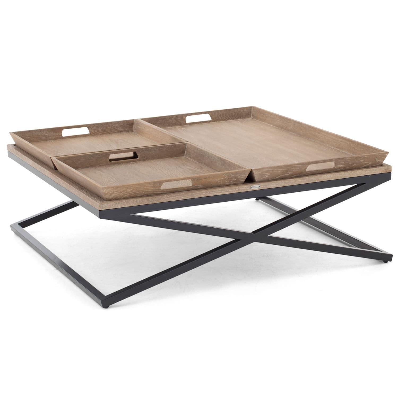 Moderner Couchtisch Holz Metall Quadratisch Montella Ii
