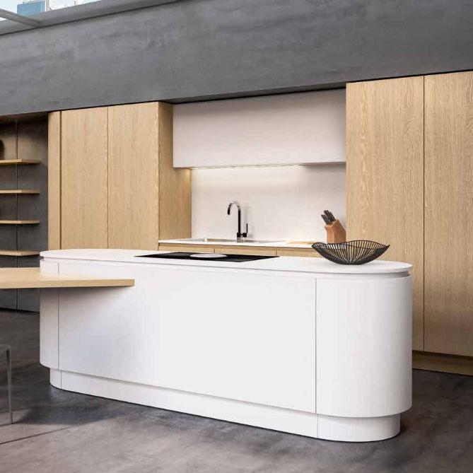 Moderne Küche / Holz / Laminat / Kochinsel   B50