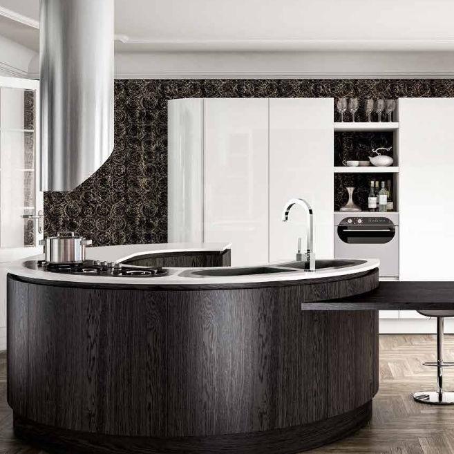 Moderne Küche / Holz / Kochinsel / Rund   B50