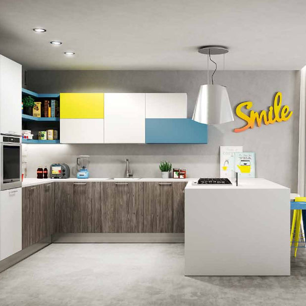 Moderne Küche / Holz / Melamin / U Rohr   SUNNY