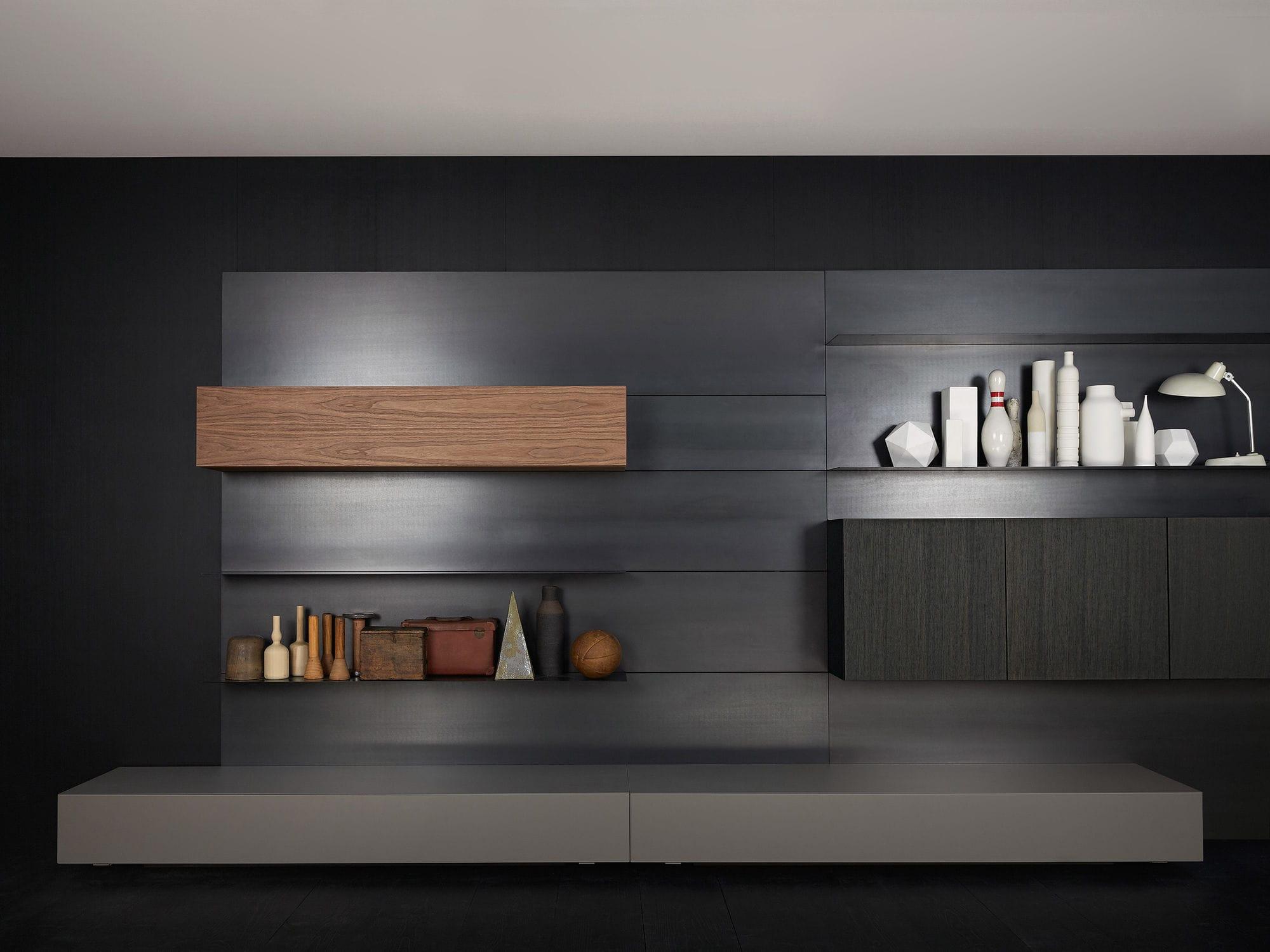 Wohnwand holz modern  Moderne Wohnwand / Holz / von Piero Lissoni - MODERN LIVING - Porro