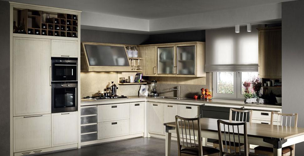Moderne Küche / aus Esche / L-förmig / mit integriertem Griff ...