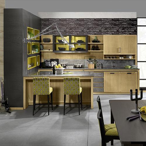 Moderne Küche / Esche / Kochinsel / Mit Integriertem Griff   INDUSTRIAL CHIC
