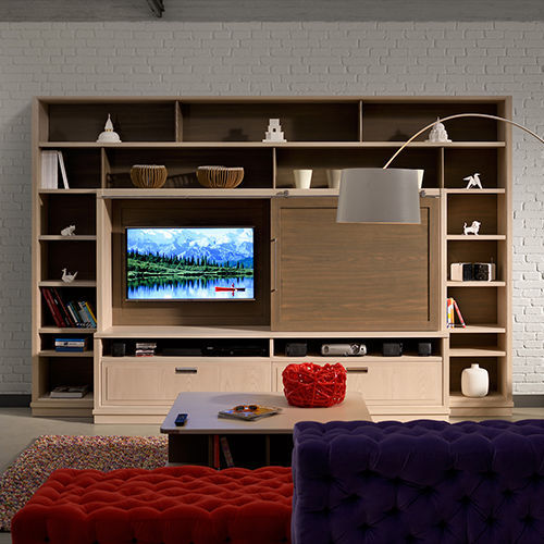 Moderne Wohnwand Holz Industrial Chic L Ottocento