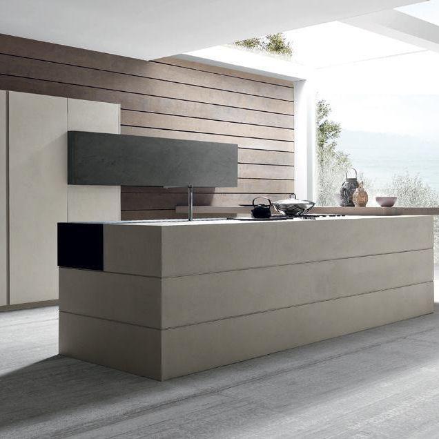 Moderne Kuche Holz Beton Kochinsel Twenty Resina Modulnova