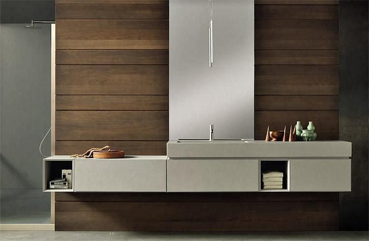Waschtischunterschrank holz hängend  Hängend-Waschtischunterschrank / Holz / modern / lackiert ...
