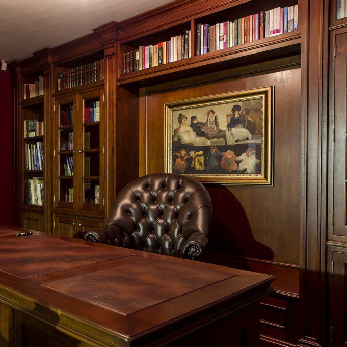 Wandmontierte Bibliothek Klassisch Holz Office Akan Handmade