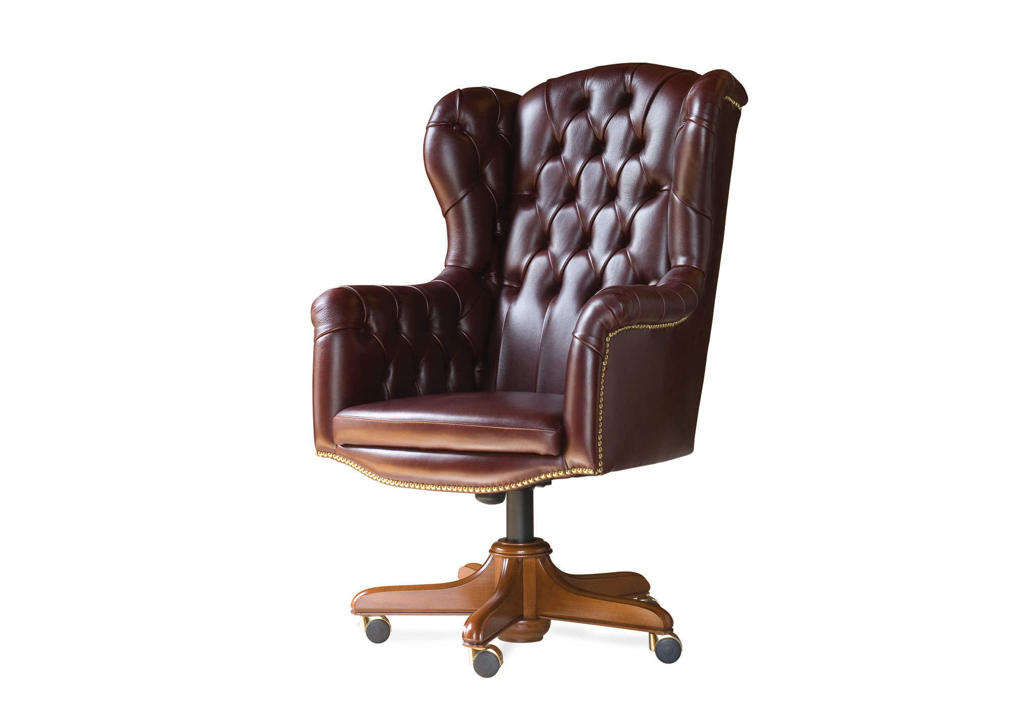 Chefsessel holz  Chesterfield-Chefsessel / Holz / Leder / mit Rollen - MANAGER ...