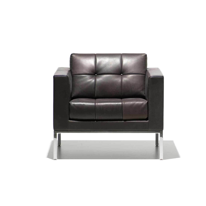 Sessel Modern Leder Schwarz