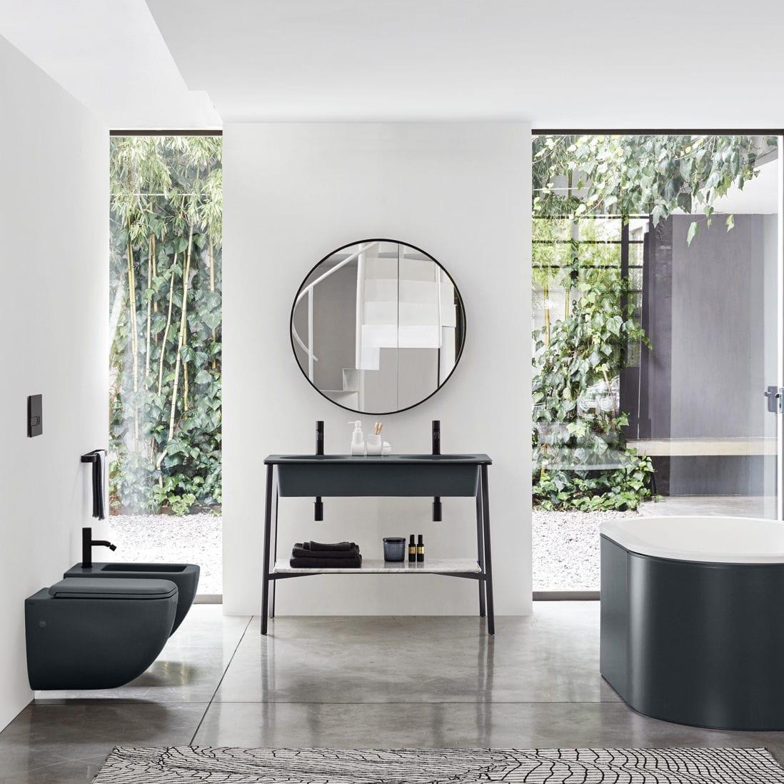 Waschtischunterschrank freistehend  Doppel-Waschtischunterschrank / freistehend / Holz / aus Keramik ...