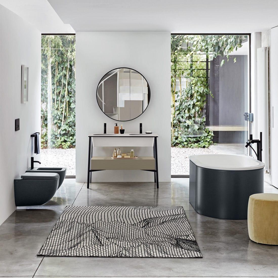 Waschtischunterschrank freistehend  Doppelter Waschtischunterschrank / freistehend / Holz / Keramik ...