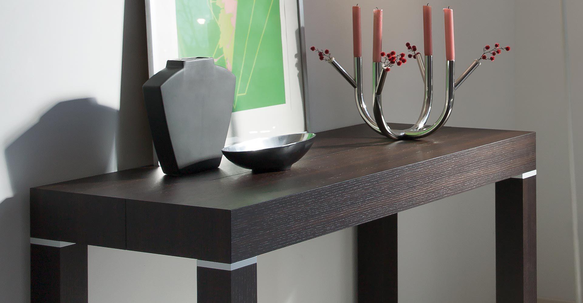 Moderner Konsolentisch / Holz / Aluminium / rechteckig ...