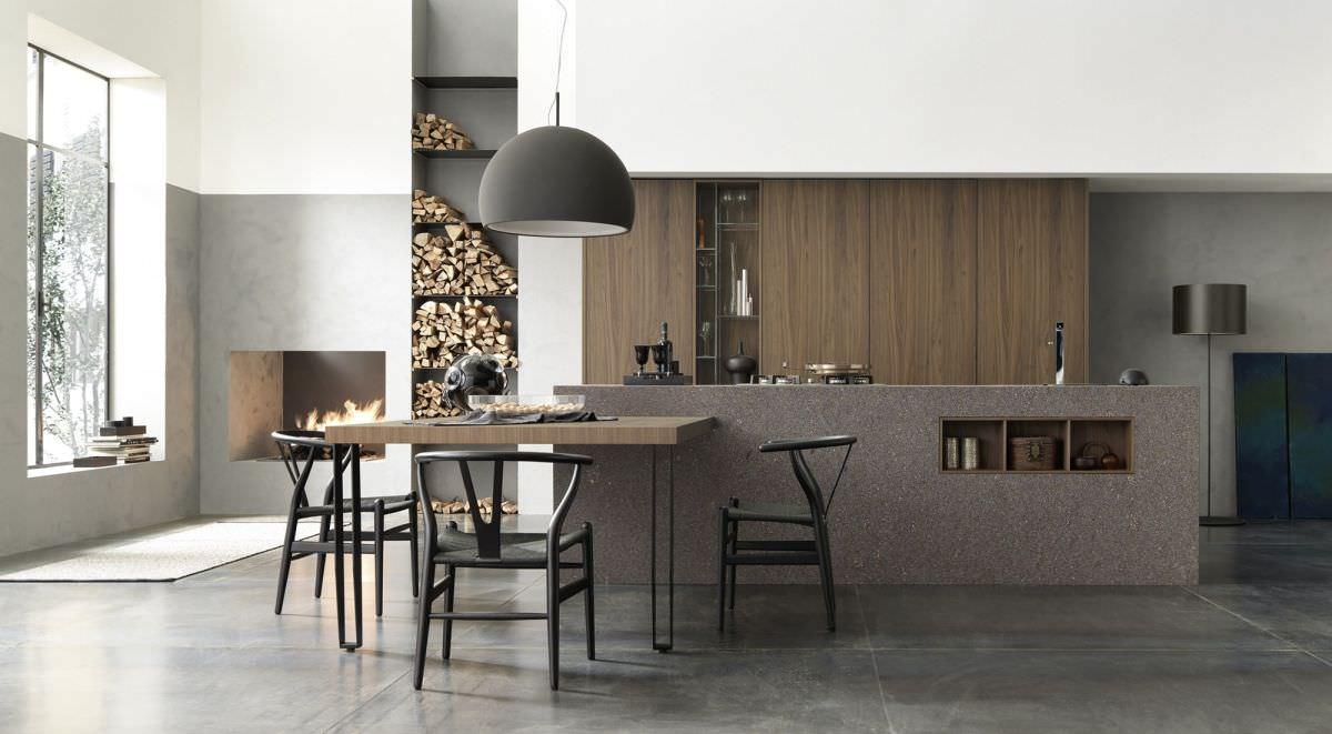 Moderne küche / aus stein / aus massivholz / holz   m 26 profili ...