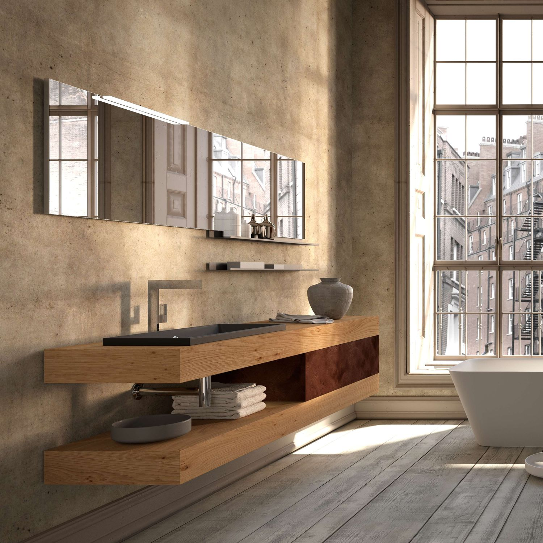 Hängend-Waschtischunterschrank / Holz / modern / Schubladen ... | {Waschtischunterschrank modern 1}