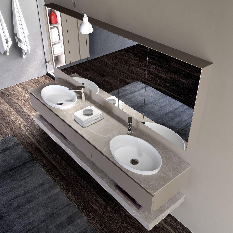 Doppelter Waschtisch Unterschrank / Hängend / HPL / Modern   GOLA COMP_22