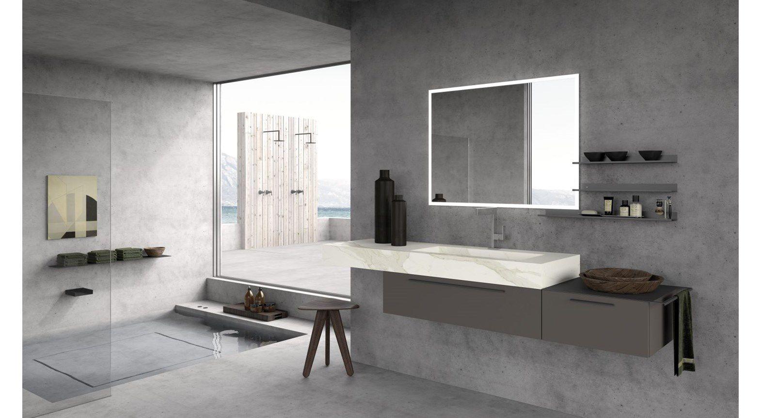 Moderner Badezimmer-Schrank / Holz / wandmontiert / mit Schublade ...