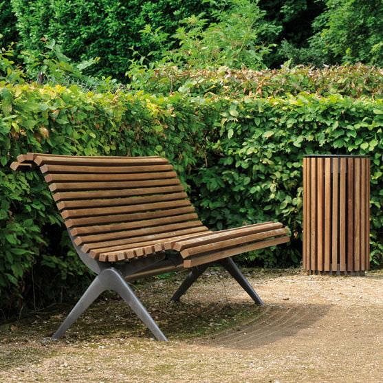 Parkbank / modern / Holz / Metall - ROME - AREA