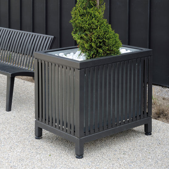 Metall-Pflanzkübel / Holz / quadratisch / klassisch - MAZAGAN - AREA