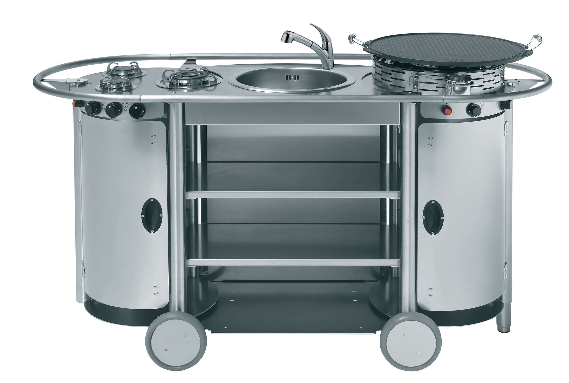 Edelstahl-Küche / mobil / Außenbereich / mit Griffen - BONGOS : TUS ...