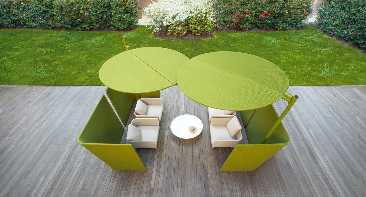Polyester-sonnenschirm / Aluminium / Schwenkbar - Ombra By ... Cabanne Gartenpavillon Paola Lenti Bestetti Associati