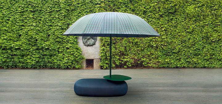 Sonnenschirm für berufliche Nutzung / aus Leinen / Aluminium ...