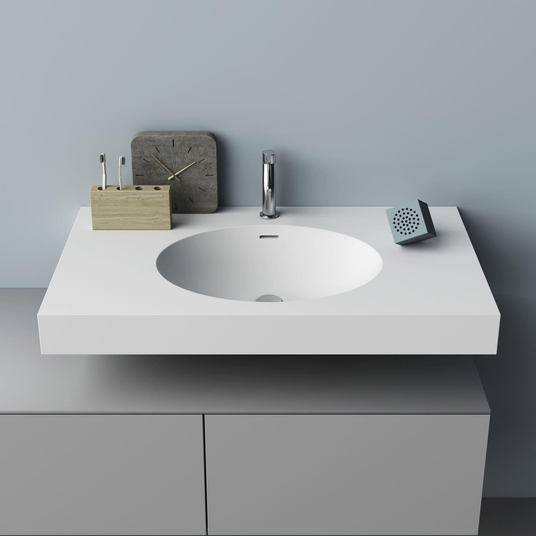 Wand-Waschbecken / rechteckig / aus Corian® / modern - DROP - PLANIT | {Waschbecken rechteckig 19}