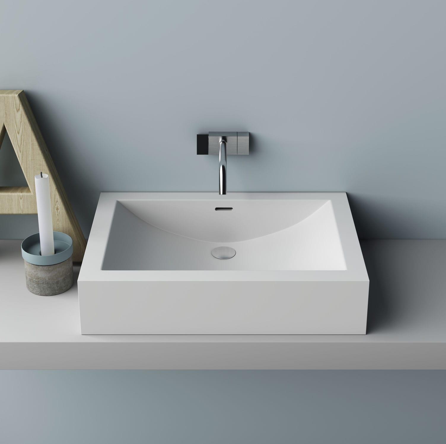 Waschbecken rechteckig  Aufsatzwaschbecken / rechteckig / aus Corian® / modern - CUNA - PLANIT