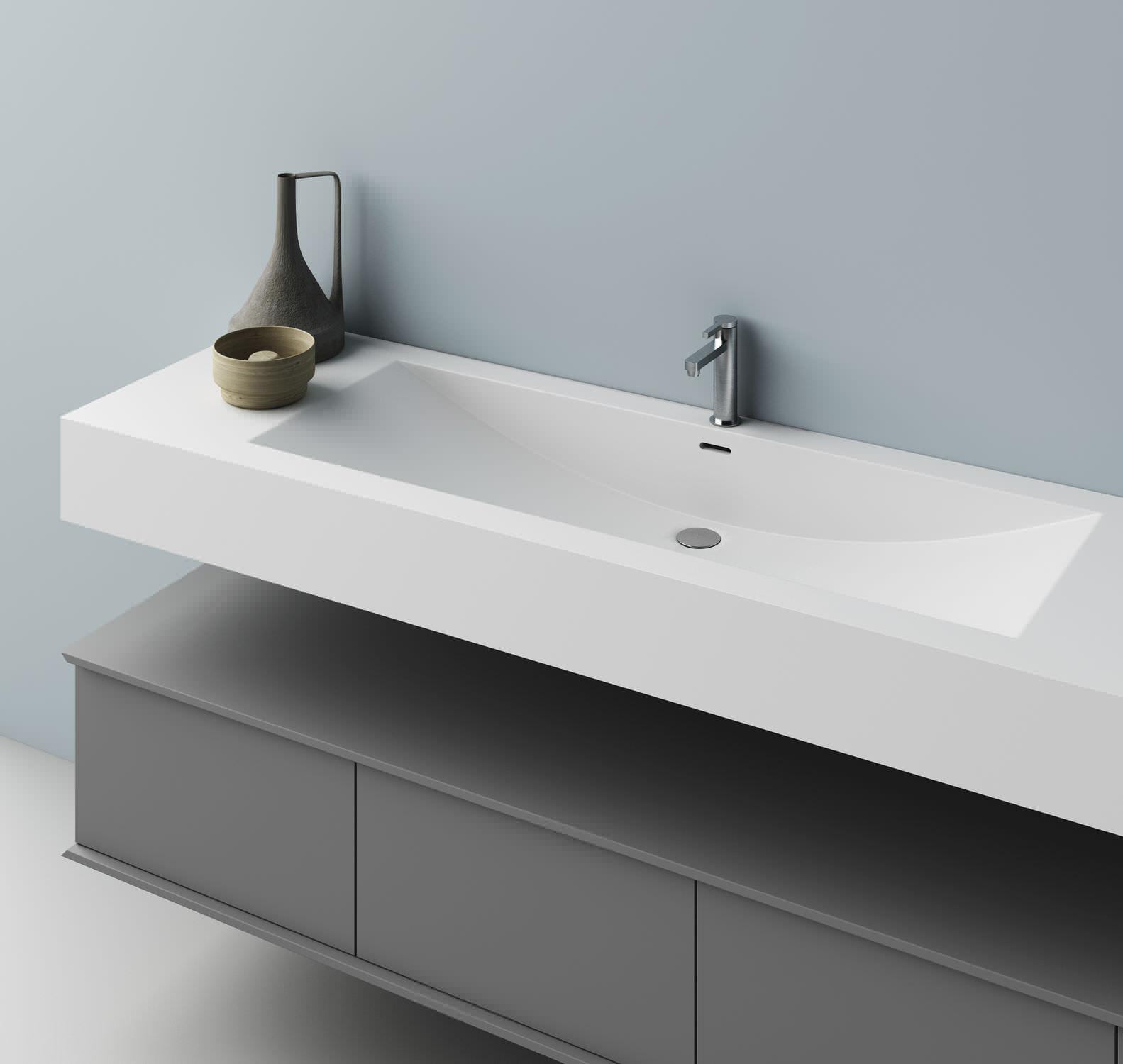 Aufsatzwaschbecken / rechteckig / aus Corian® / modern - CUNA - PLANIT | {Waschbecken rechteckig 9}