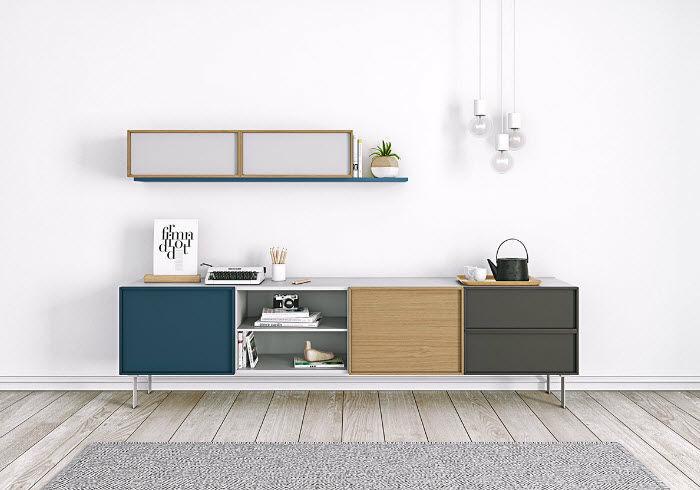 ... Modernes Sideboard / Holz / Mit Regal / Modular NARA By Odosdesign Arlex