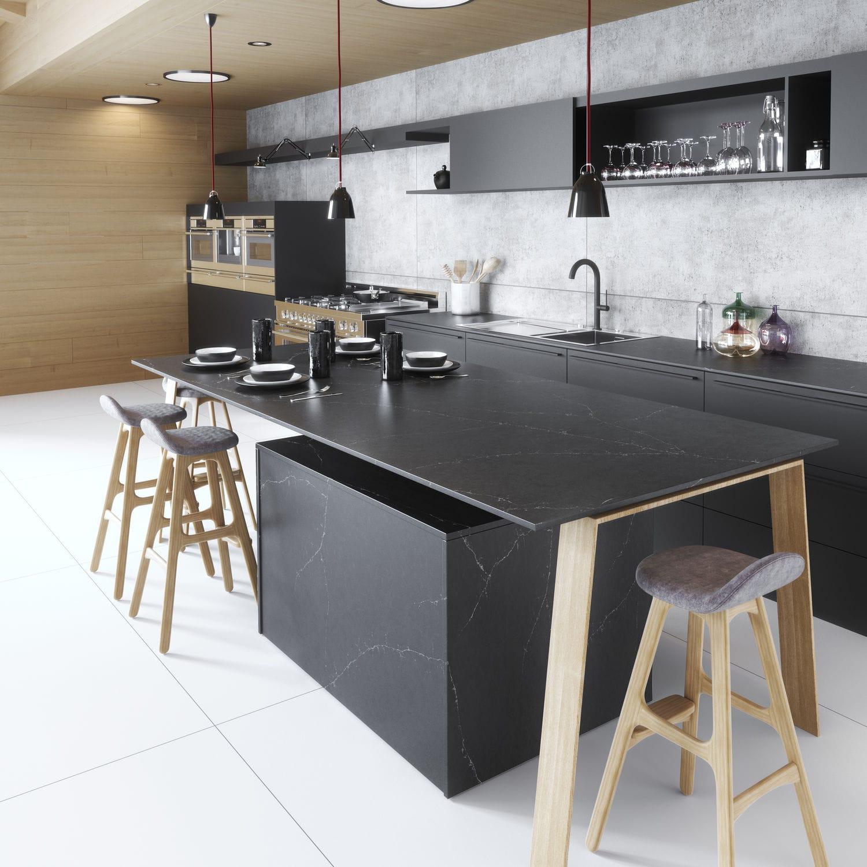 Silestone Arbeitsplatte Kuchen Schwarz Charcoal Soapstone