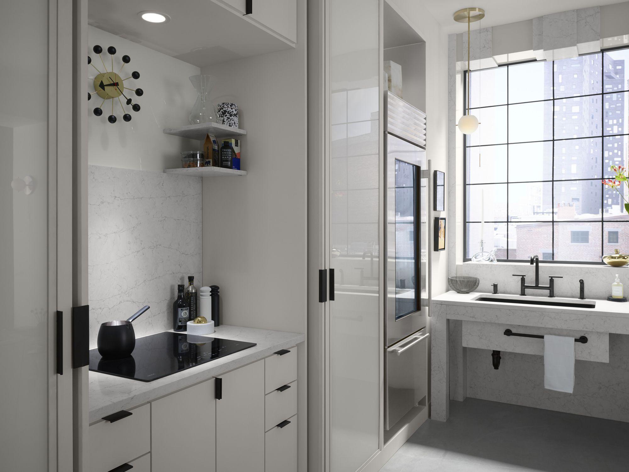 Silestone®-Arbeitsplatte / aus Kalkstein / Küchen / weiß - PEARL ...