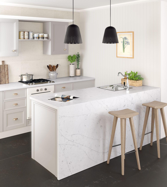 Silestone Arbeitsplatte Marmor Küchen Weiß Statuario
