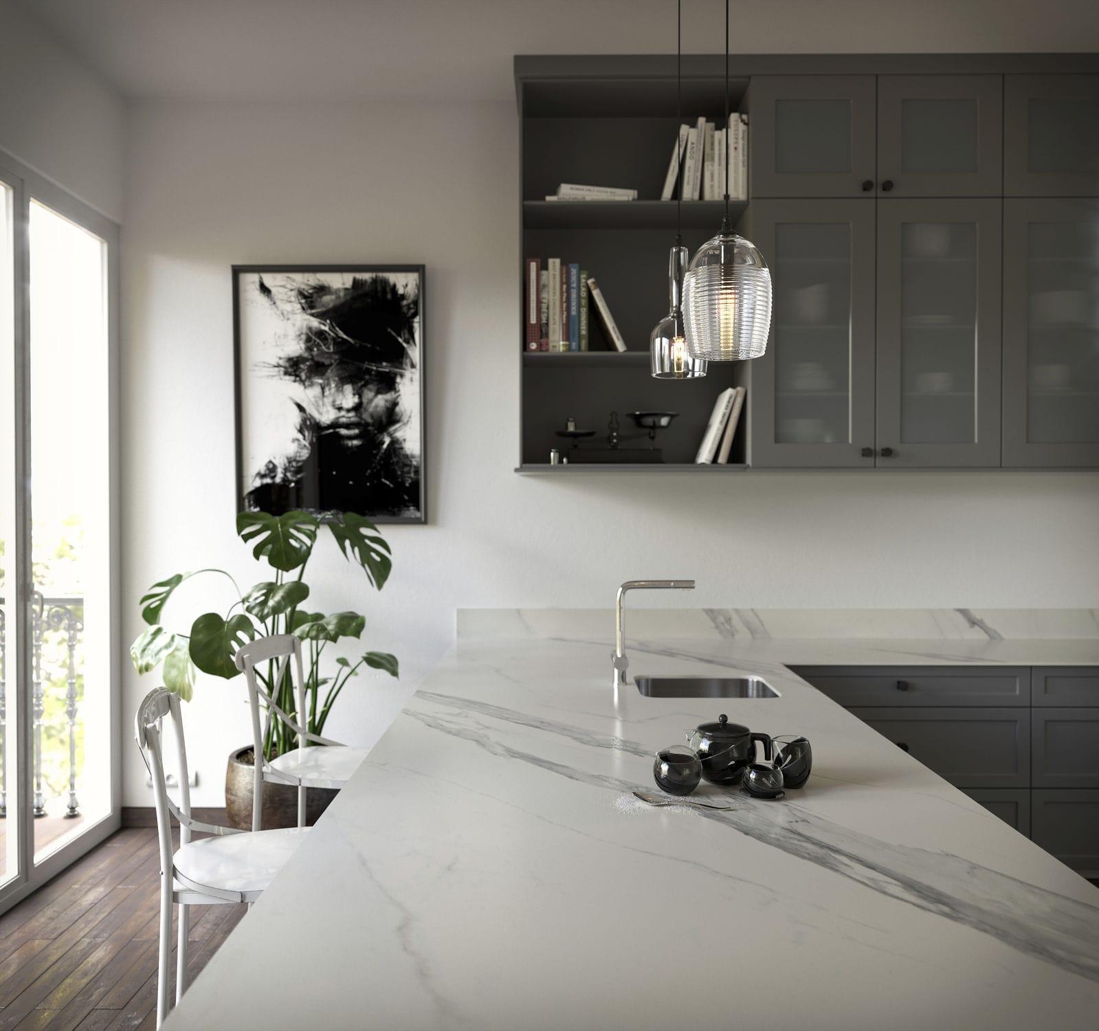 marmor arbeitsplatte / küchen / weiß - opera - cosentino