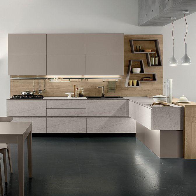 Moderne Küche / Laminat / L-förmig / ohne Griff - VEGA - Torchetti ...