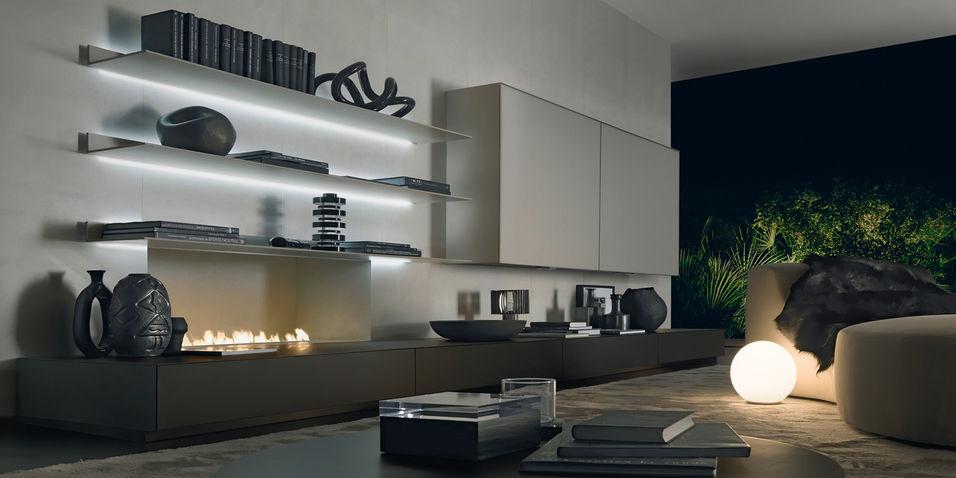 moderner wohnzimmer wohnwand / glas - abacus by giuseppe bavuso, Wohnzimmer