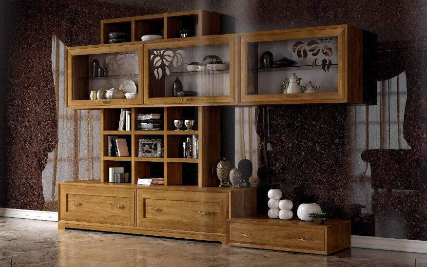 Moderner Wohnzimmer Wohnwand Holz LA DOLCE VITA Stilema