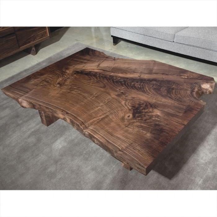 Moderner Couchtisch Holz Rechteckig Innenraum Live Edge