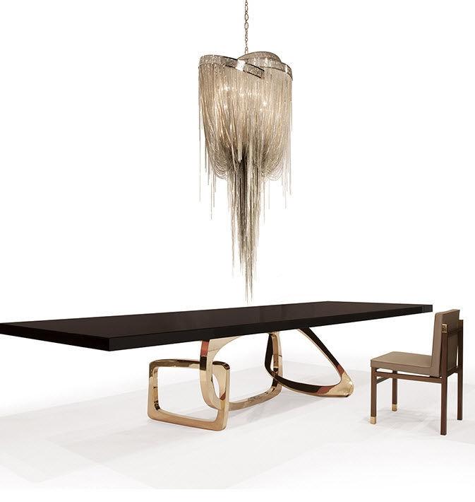Moderner Esstisch Aus Nussbaum Polierter Edelstahl Bronze