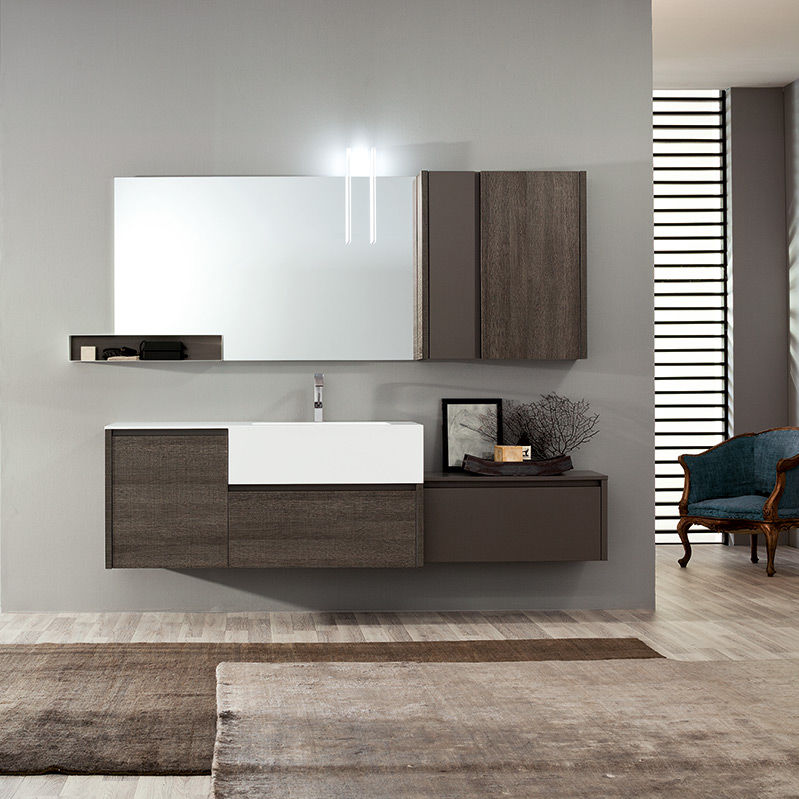 Hängend-Waschtischunterschrank / Holz / modern / mit Spiegel ... | {Waschtischunterschrank holz 86}