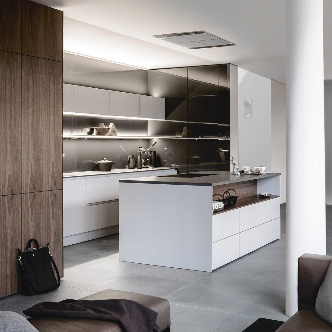 Moderne Küche / lackiertes Holz / Holzfurnier / Kochinsel - PURE ...